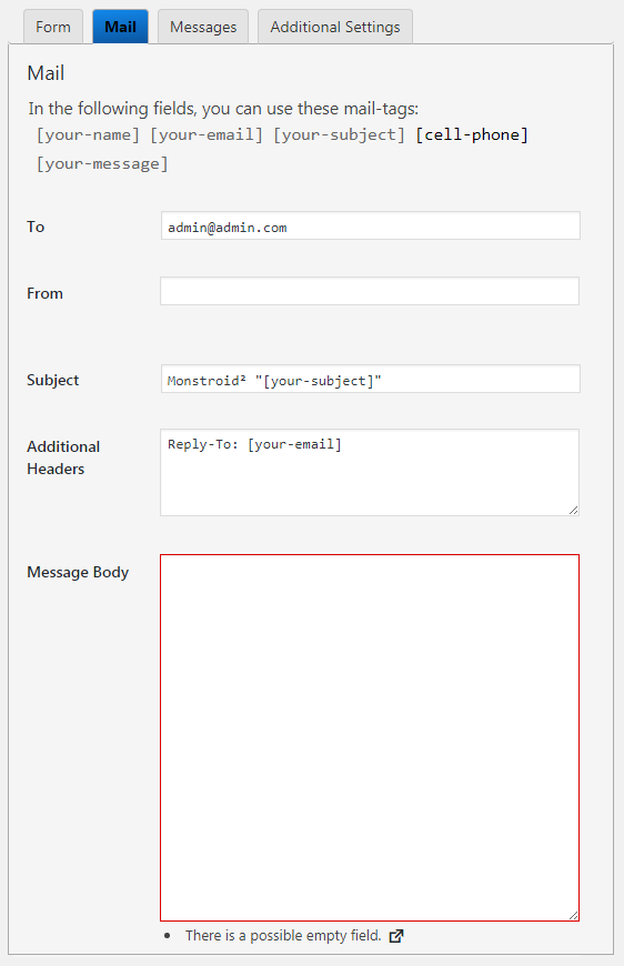 Mail tab of the contact form 7