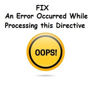 an error occurred while processing this directive