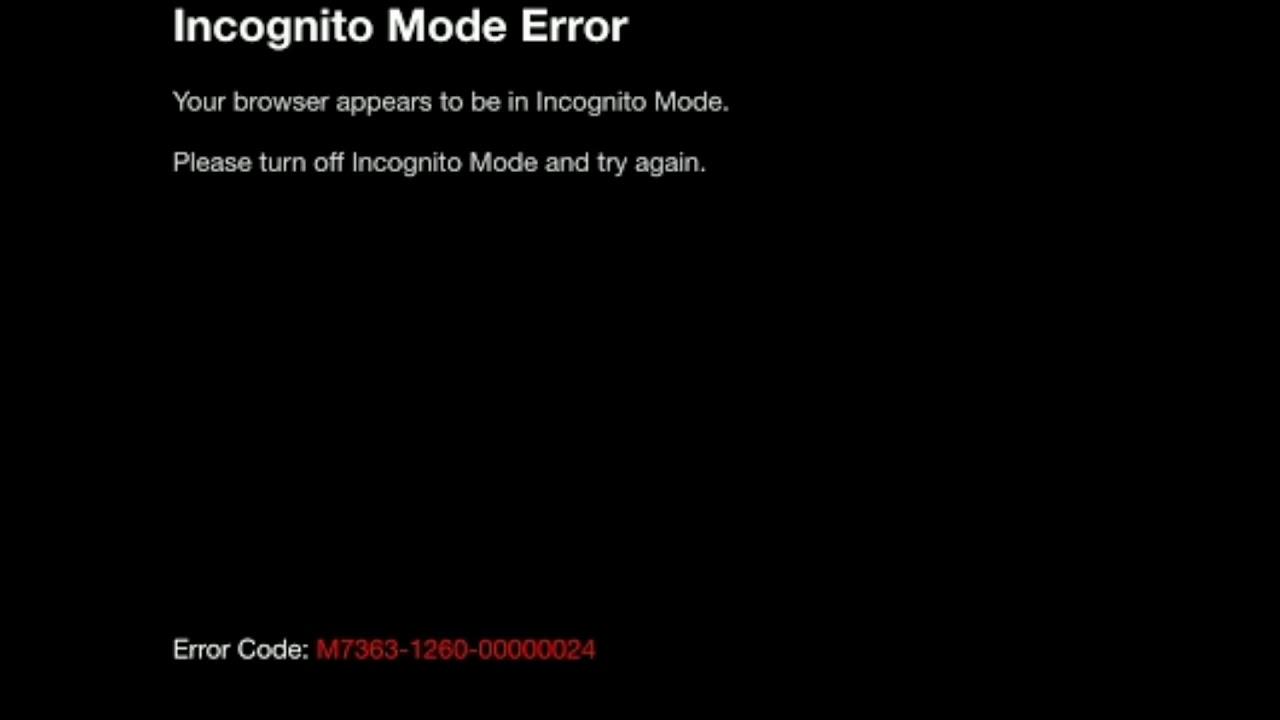 Error code M7363-1260-00000026