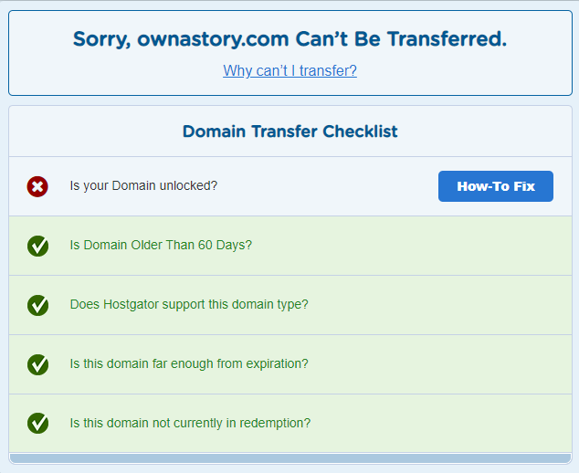 hostgator domain transfer