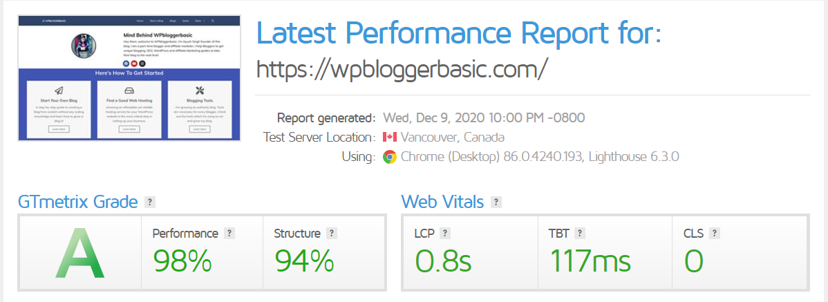 Wpbloggerbasic stats on GTmetrix