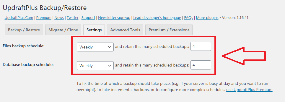 UpdraftPlus Schedule Backup Settings