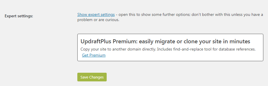 Updraftplus last settings