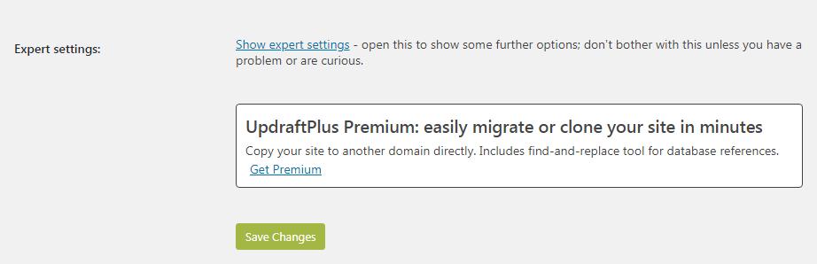 Updraftplus last settings